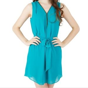 IZ Byer- Zipper Neckline Shift Dress (TEAL)